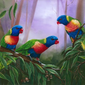 (CreativeWork) LORIKEETS by Debra Dickson. arcylic-painting. Shop online at Bluethumb.