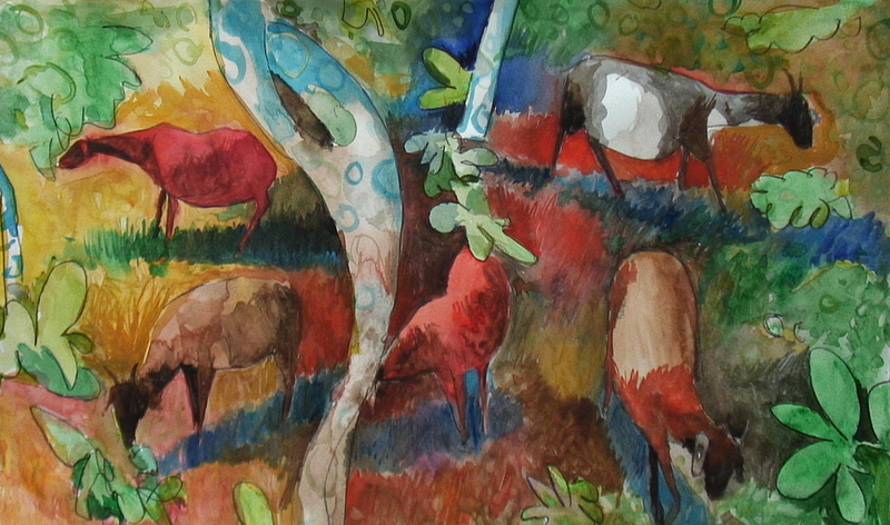 (CreativeWork) Goats in tropical landscape by John Graham. mixed-media. Shop online at Bluethumb.