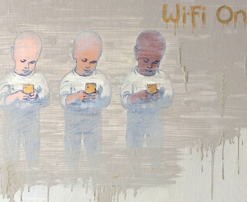 (CreativeWork) Wi-Fi On by Grace Huang. Oil. Shop online at Bluethumb.