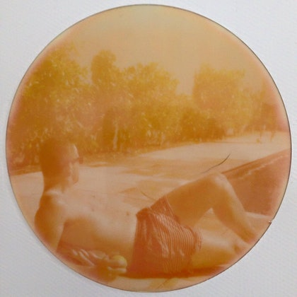 (CreativeWork) sunbathing in orange by Megan George. photograph. Shop online at Bluethumb.