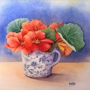 (CreativeWork) Nasturtiums cup by Jenny Hartley. watercolour. Shop online at Bluethumb.