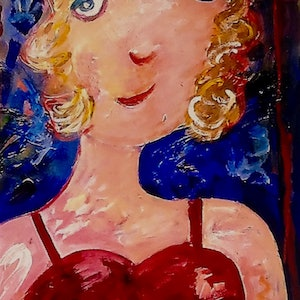 (CreativeWork) Girl In Red Frock by Margaret Goldsmith. arcylic-painting. Shop online at Bluethumb.