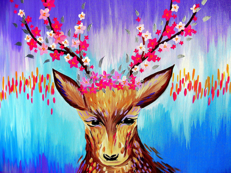 (CreativeWork) Deer by Cathy Jacobs. arcylic-painting. Shop online at Bluethumb.