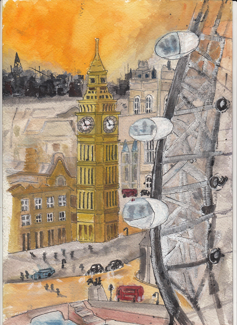(CreativeWork) London Calling by Gowri Shan. watercolour. Shop online at Bluethumb.