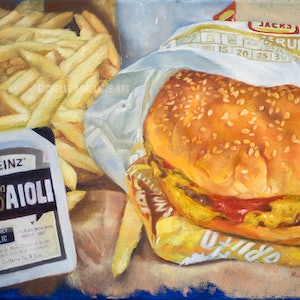 (CreativeWork) The burgers are better at Hungry Jack's (framed) by Michelle Angelique. oil-painting. Shop online at Bluethumb.