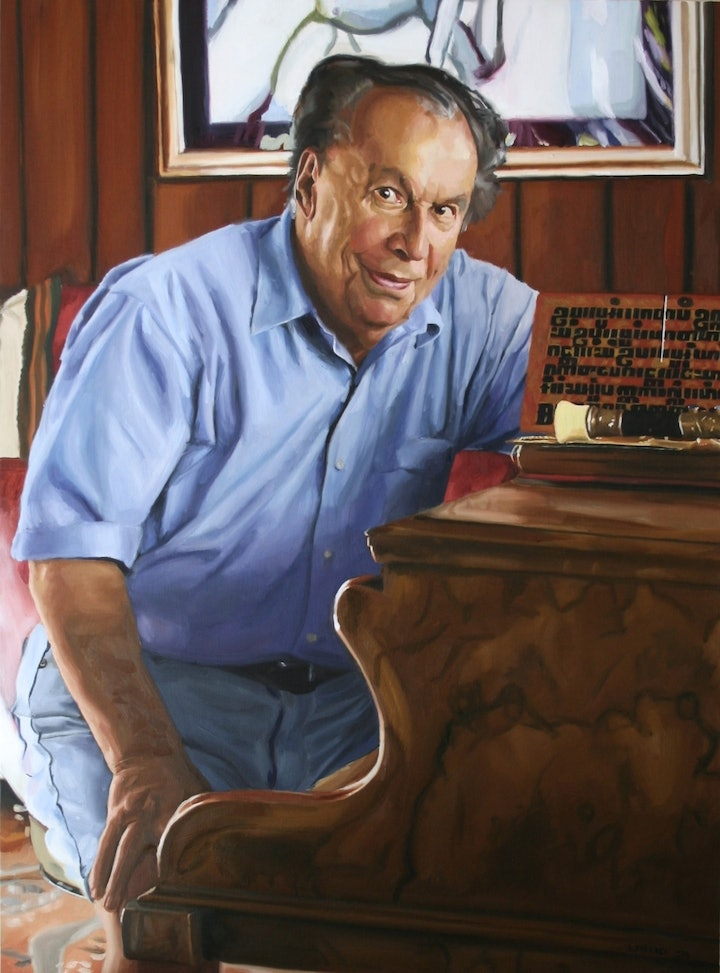 (CreativeWork) Larry Sitsky at his piano, with Cambodiam prayer board, and opium pipe.... by ANGELA PARRAGI. oil-painting. Shop online at Bluethumb.