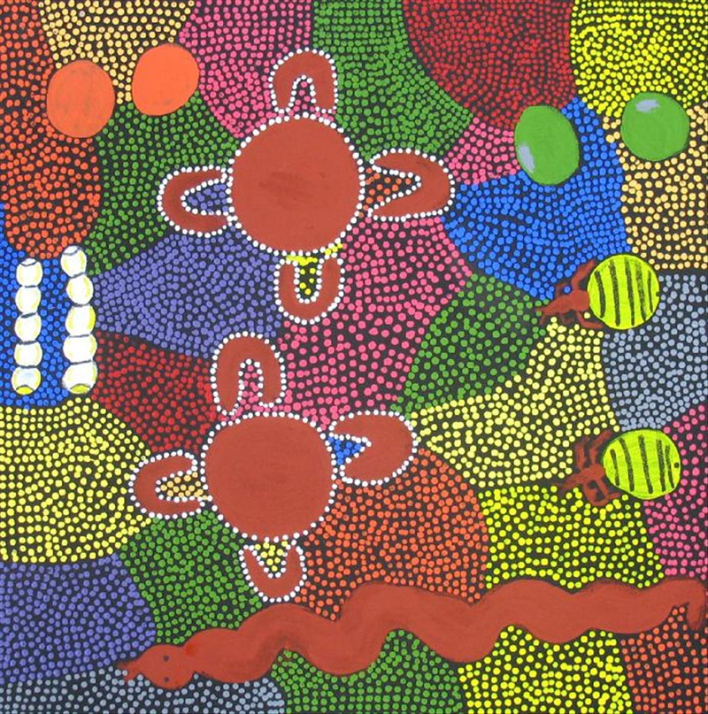 (CreativeWork) Women gathering bush bananas and honey ants. Catalog no. 865-11 by Sandra Collins. arcylic-painting. Shop online at Bluethumb.