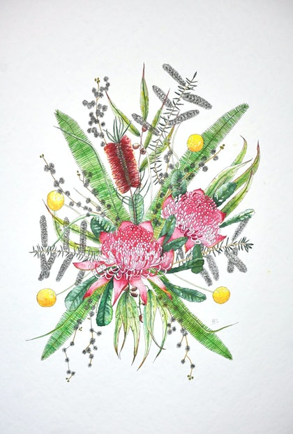 (CreativeWork) Native Bouquet by Melanie Balestri. watercolour. Shop online at Bluethumb.