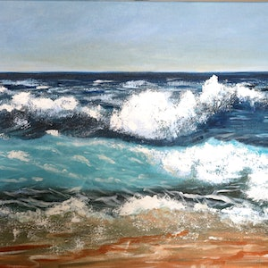 (CreativeWork) Beach1 by Sevda Amini. arcylic-painting. Shop online at Bluethumb.