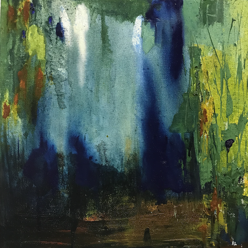 (CreativeWork) Behind the Waterfall by Mary-Anne Stuart. oil-painting. Shop online at Bluethumb.
