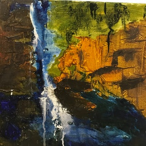 (CreativeWork) Cascades by Mary-Anne Stuart. oil-painting. Shop online at Bluethumb.