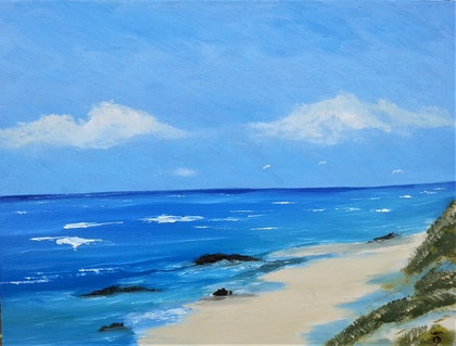 (CreativeWork) Denmark Light Beach. W.A. oi paint brush and palette knife. by owen jones. oil-painting. Shop online at Bluethumb.