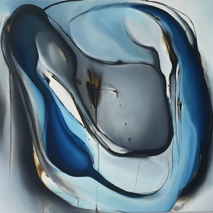 (CreativeWork) Blue Abstraction - The Blue Series by Rachael Foley. oil-painting. Shop online at Bluethumb.