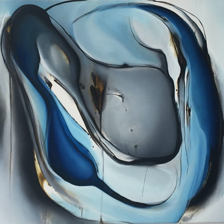 (CreativeWork) Blue Abstraction - The Blue Series by Rachael Foley. Oil Paint. Shop online at Bluethumb.