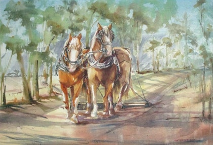(CreativeWork) The Two Escapees by Helen Elphinstone - King. watercolour. Shop online at Bluethumb.