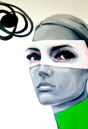(CreativeWork) Lime Green Jumper by Jac Clark. Acrylic Paint. Shop online at Bluethumb.