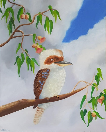 (CreativeWork) Kookaburra in the Old Gum tree by Skye Cardwell. oil-painting. Shop online at Bluethumb.