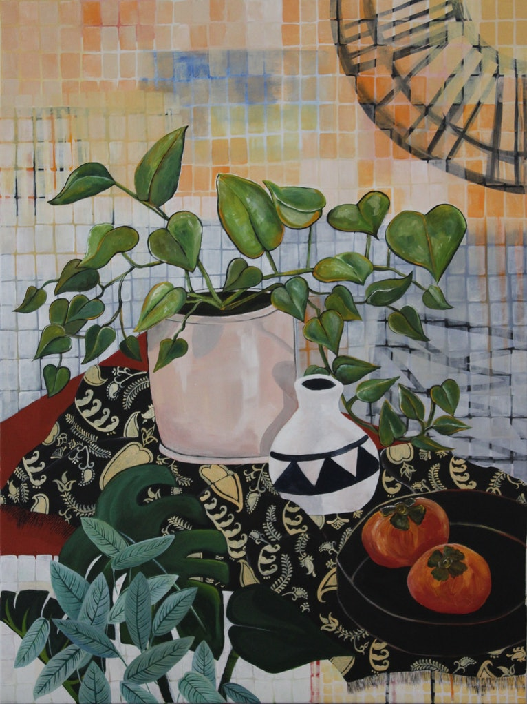(CreativeWork) Still life with houseplants by Amani Haydar. acrylic-painting. Shop online at Bluethumb.