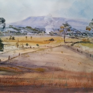 (CreativeWork) Fire in the valley by Helen Elphinstone - King. watercolour. Shop online at Bluethumb.