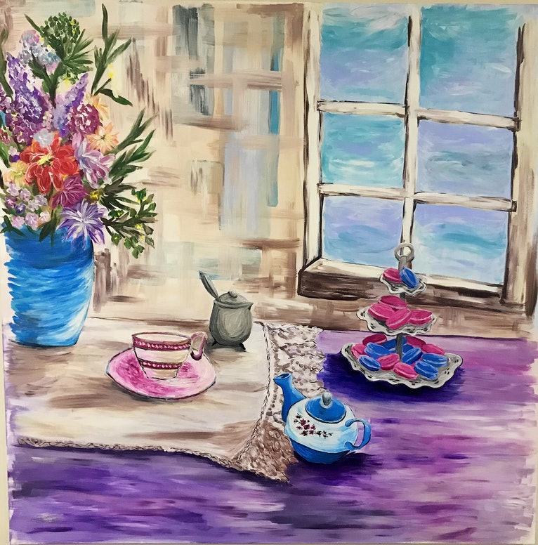 (CreativeWork) Sunday Afternoon Macaroons by Maggie Deall. Acrylic Paint. Shop online at Bluethumb.