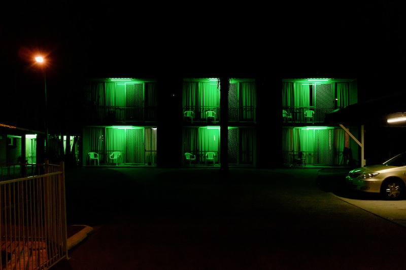 (CreativeWork) Gold Coast Motel at Night by Dale Harper. photograph. Shop online at Bluethumb.