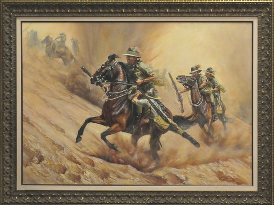 (CreativeWork) RESCUE AND RETREAT by Ron and Jennifer Marshall. Oil Paint. Shop online at Bluethumb.