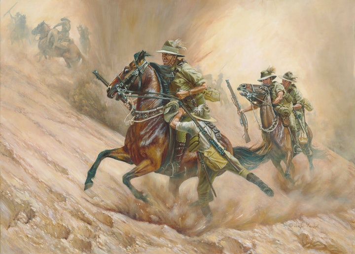 (CreativeWork) RESCUE AND RETREAT by Jennifer Marshall. oil-painting. Shop online at Bluethumb.