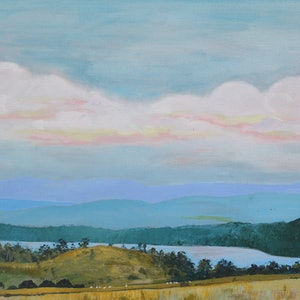 (CreativeWork) Rubicon view at dusk by Sandra Jenkins. arcylic-painting. Shop online at Bluethumb.