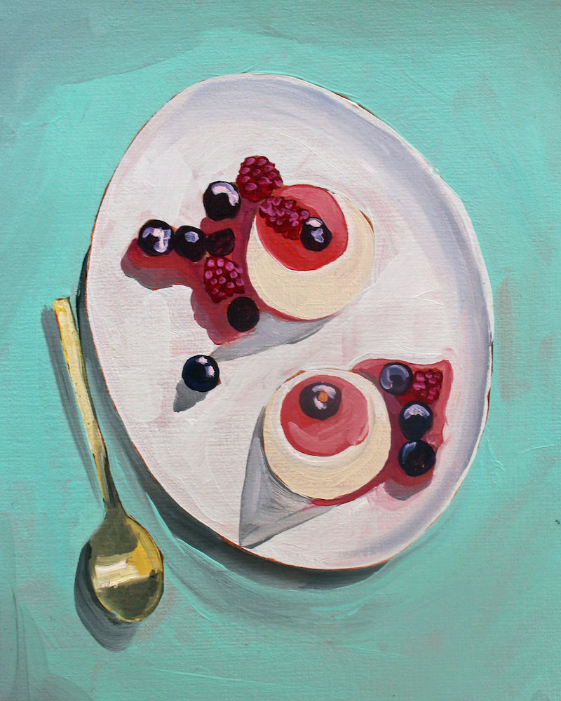 (CreativeWork) Panna cotta by Sandra Jenkins. oil-painting. Shop online at Bluethumb.