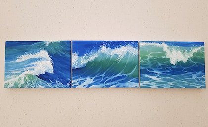 (CreativeWork) Lapping waves by Skye Cardwell. oil-painting. Shop online at Bluethumb.