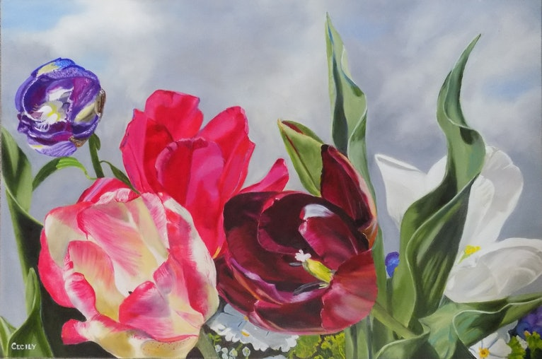 (CreativeWork) Kiss of the Black Tulip by Cecily Slade. oil-painting. Shop online at Bluethumb.