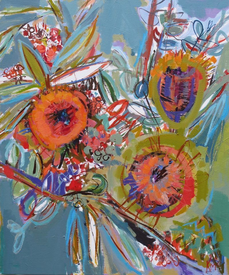 (CreativeWork) BOUQUET by Karen McPhee. arcylic-painting. Shop online at Bluethumb.