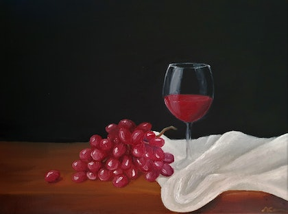 (CreativeWork) Cheers by Skye Cardwell. oil-painting. Shop online at Bluethumb.