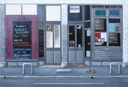 (CreativeWork) The Old Bar, Fitzroy by Pauline Bailey. mixed-media. Shop online at Bluethumb.