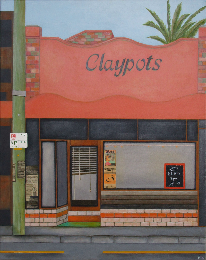 (CreativeWork) Claypots 1 St Kilda by Pauline Bailey. mixed-media. Shop online at Bluethumb.