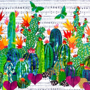 (CreativeWork) Succulent Bling by Cathy Snow. mixed-media. Shop online at Bluethumb.