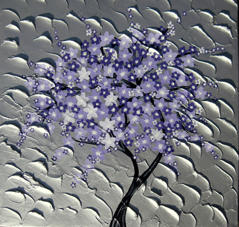 (CreativeWork) Purple Cherry Blossom Cascade by Cathy Jacobs. arcylic-painting. Shop online at Bluethumb.