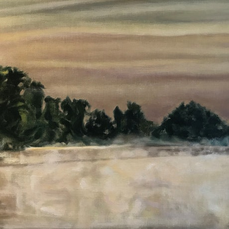 (CreativeWork) Dawn on the yellow water by Vanessa Whittington. Oil Paint. Shop online at Bluethumb.