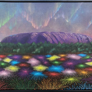 (CreativeWork) Dreaming: Spectacular Light Show at Uluru. by Andrea Marriette. mixed-media. Shop online at Bluethumb.