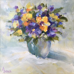 (CreativeWork) Purple as pansies by Ivana Pinaffo. arcylic-painting. Shop online at Bluethumb.