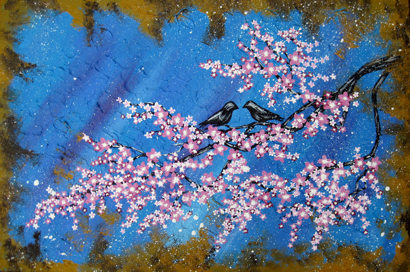 (CreativeWork) Cherry Blossom Dream by Cathy Jacobs. arcylic-painting. Shop online at Bluethumb.