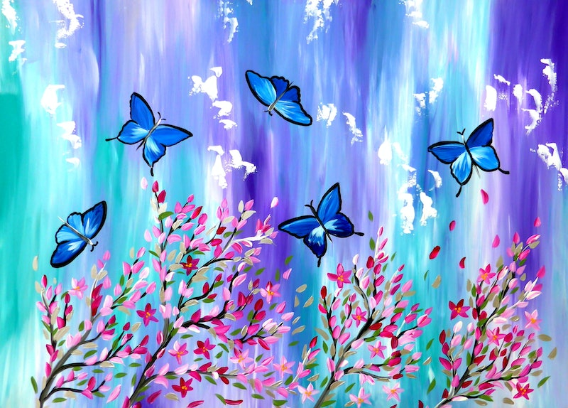 0a5594848 Shop online (CreativeWork) Cherry Blossom Butterflies by Cathy Snow.  arcylic-painting. Shop online