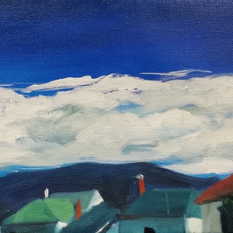 (CreativeWork) Battery Point Blue Skies by Alicia Douglas. Oil Paint. Shop online at Bluethumb.