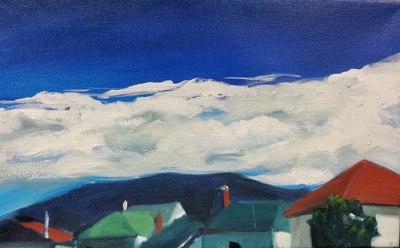 (CreativeWork) Battery Point Blue Skies by Alicia Douglas. oil-painting. Shop online at Bluethumb.