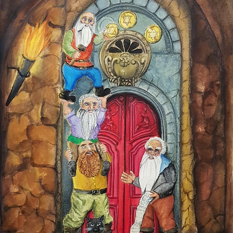 (CreativeWork) Dwarf Builders to Gold by Chelle Destefano. Acrylic Paint. Shop online at Bluethumb.