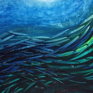 (CreativeWork) Fish School 8 by David Clare. oil-painting. Shop online at Bluethumb.