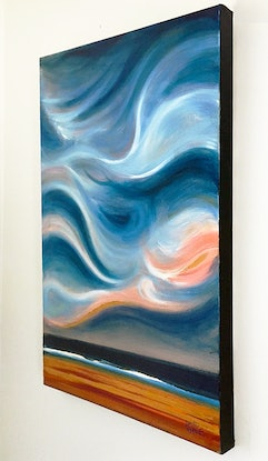 (CreativeWork) Blue Sky Gold by David Clare. Oil Paint. Shop online at Bluethumb.