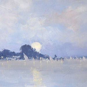 (CreativeWork) Moonlight Regatta - Goolwa by Mike Barr. oil-painting. Shop online at Bluethumb.