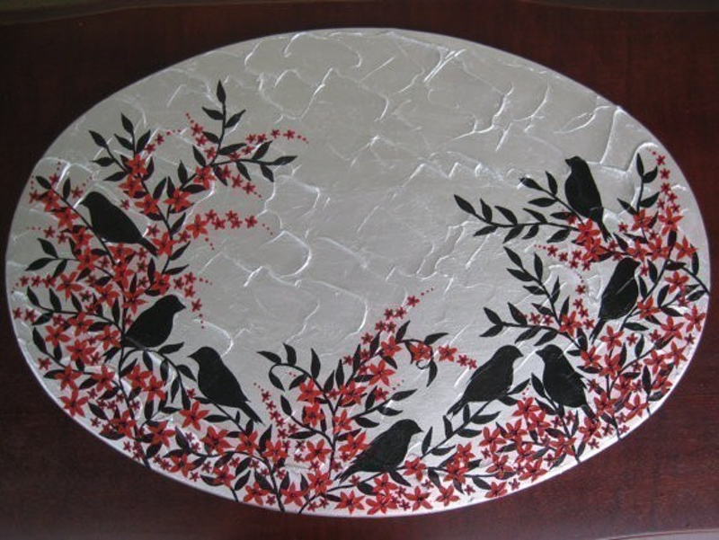 (CreativeWork) Birds in blossom by Cathy Jacobs. arcylic-painting. Shop online at Bluethumb.