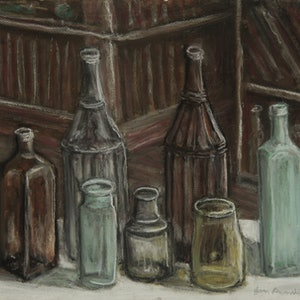 (CreativeWork) Old School Bottles by Jason Devonshire. drawing. Shop online at Bluethumb.